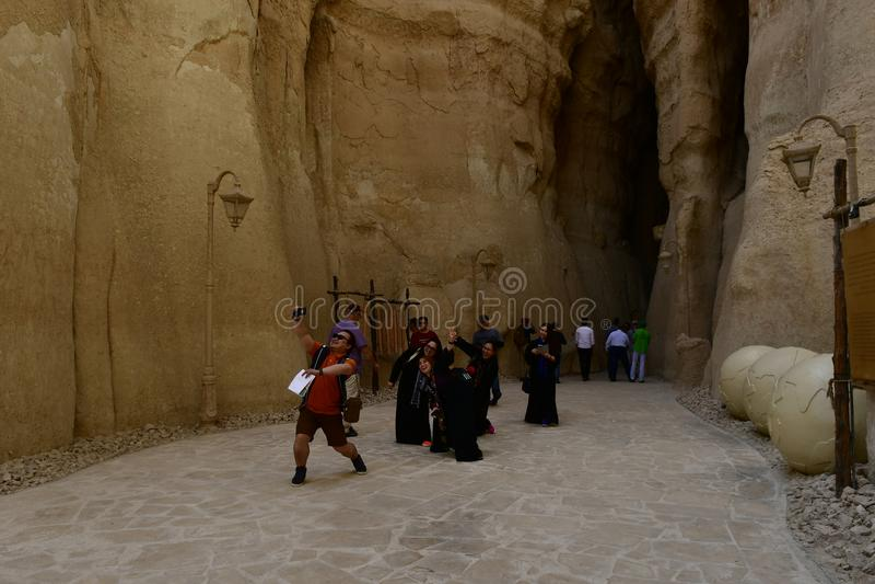 Туристское пятно назначения и путешествовать гора Qarah Al стоковое фото rf