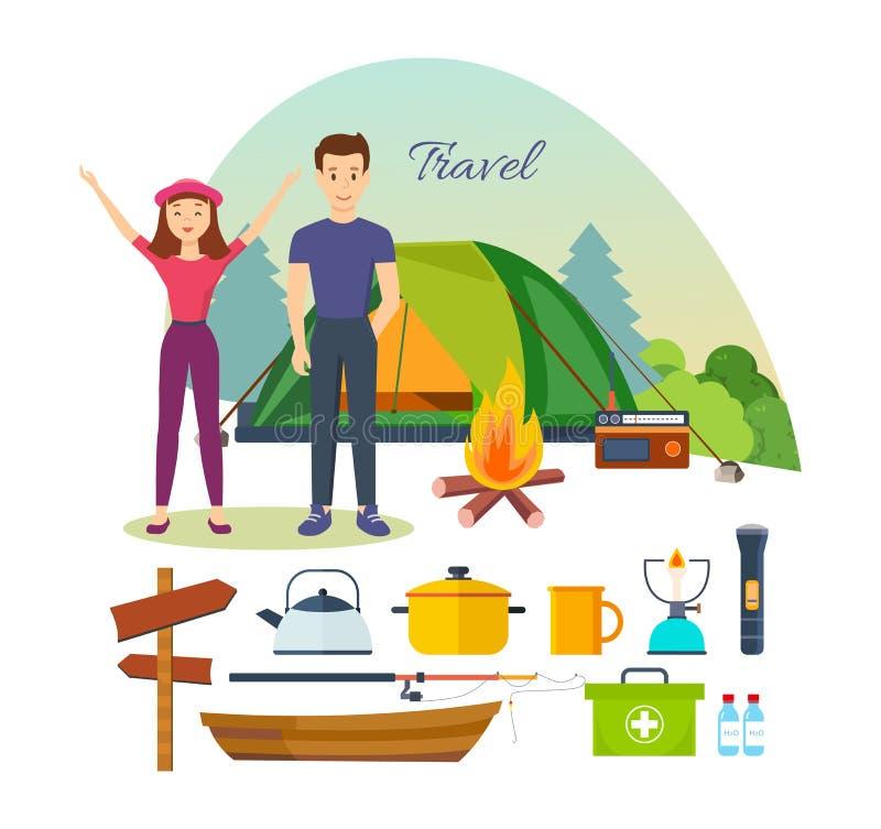Туристы, включенный пеший туризм, располагаясь лагерем, основное оборудование, инструменты в совместных походах иллюстрация вектора