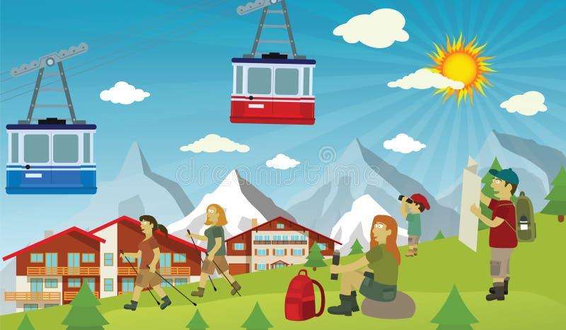 Туристы в Альпах бесплатная иллюстрация
