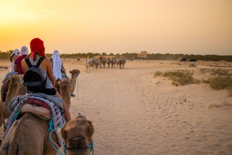 Туристы и бедуины на верблюдах встречают заход солнца в пустыне Сахары, Douz, Тунисе, Африке стоковые изображения