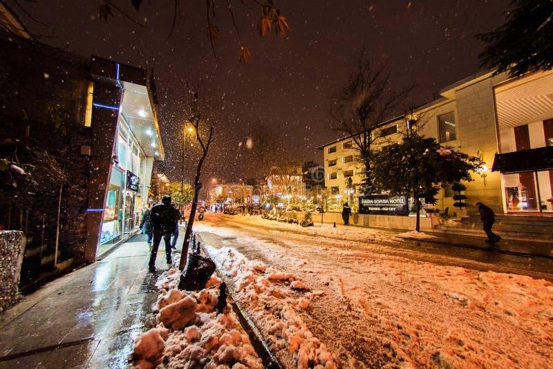 Туристы идя на улицы Стамбула после снега бушуют стоковое изображение rf