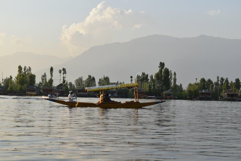 Туристы наслаждаясь в шлюпках с предпосылкой деревьев в озере Dal, Сринагаре, Джамму и Кашмир, Индии стоковые изображения