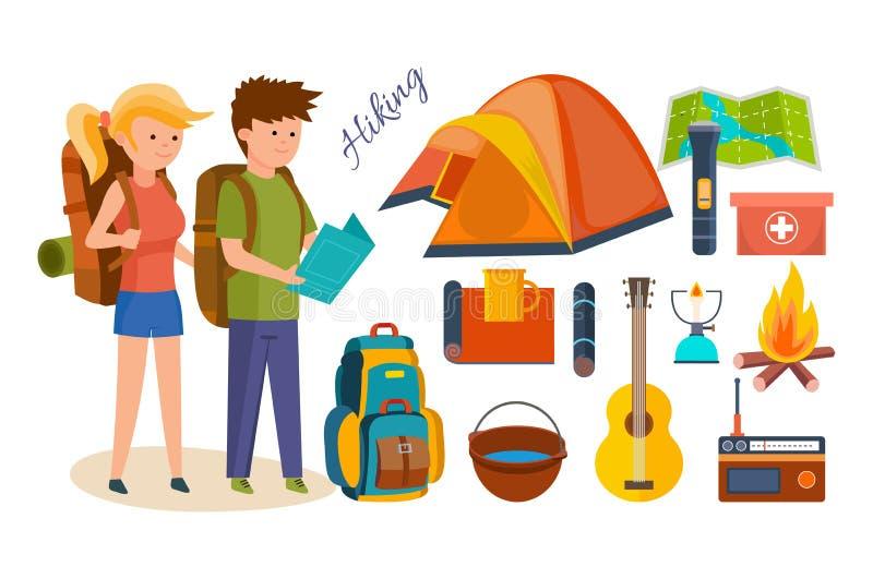 Туристы, приниманнсяый за пеший туризм, располагаясь лагерем, основное оборудование, объекты в походах иллюстрация штока
