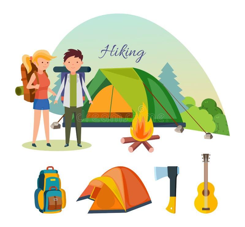 Туристы, приниманнсяый за пеший туризм, располагаясь лагерем, основное оборудование, объекты в походах бесплатная иллюстрация