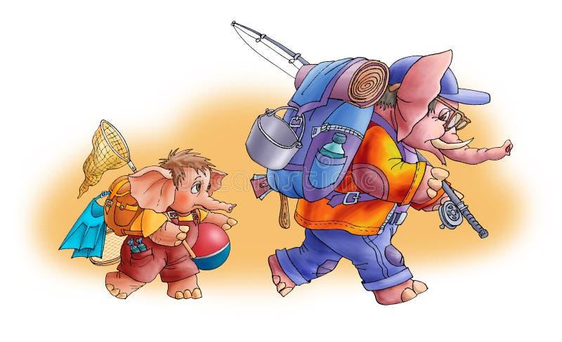 туристы слонов иллюстрация штока