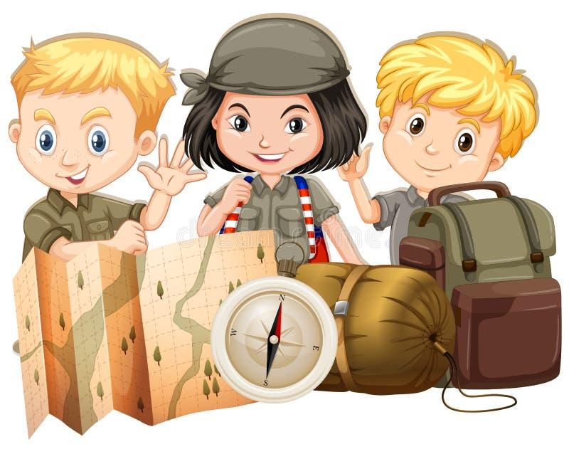Туристы с картой и сумками бесплатная иллюстрация