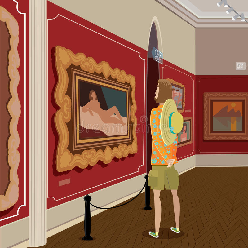 Турист в картинной галерее бесплатная иллюстрация
