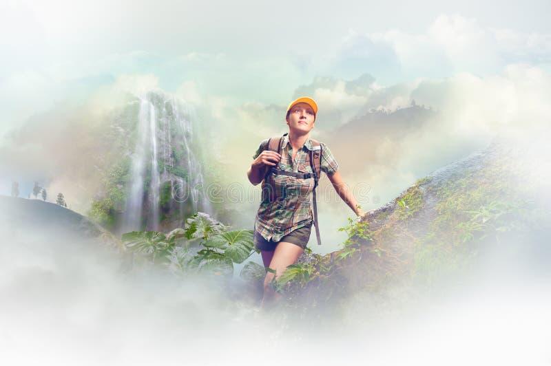 Турист женщины с рюкзаком идя в дождевой лес дальше назад стоковые изображения rf