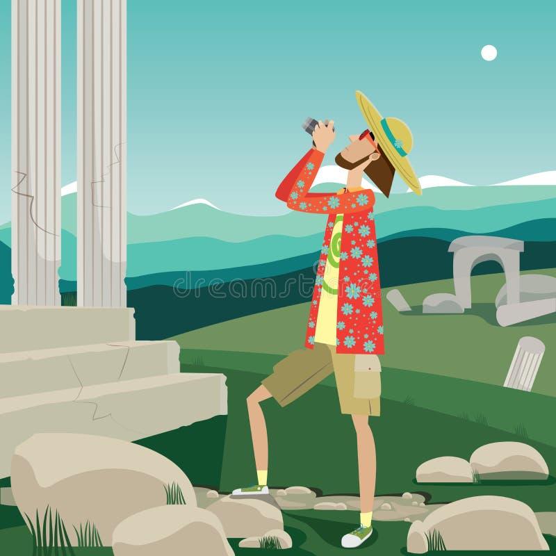 Турист и визирования бесплатная иллюстрация