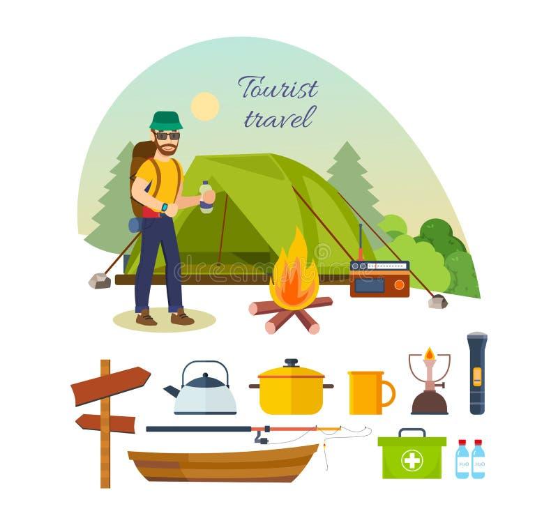 Турист с багажом, приниманнсяым за пешим туризмом, располагаться лагерем, и каникулами иллюстрация вектора