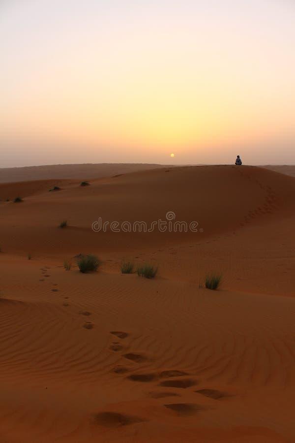 Турист Serenely наблюдал заход солнца на песках Wahiba в Омане стоковое изображение