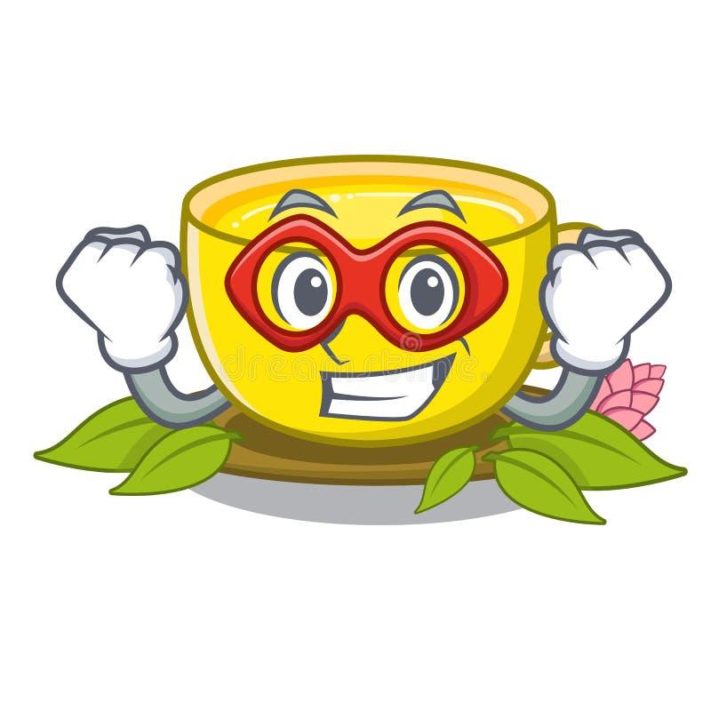 Турмерин чая супергероя в стеклах мультфильма иллюстрация штока