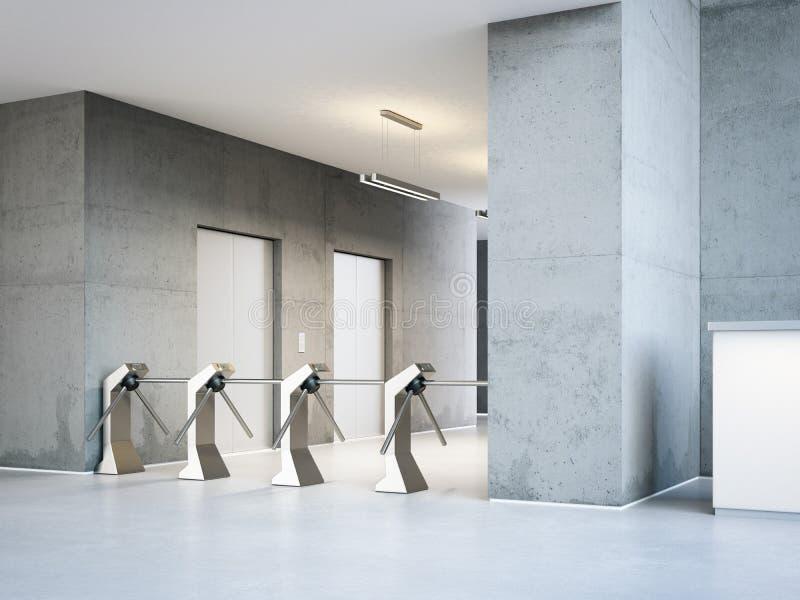 Турникеты на входе к современному офисному зданию перевод 3d бесплатная иллюстрация