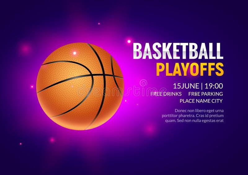 Турнир игры плаката вектора баскетбола Реалистическая предпосылка дизайна рогульки баскетбола иллюстрация вектора
