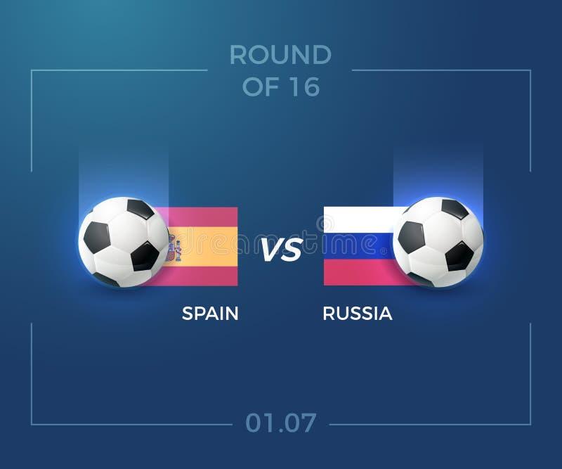 Турнир футбола, круг 16, Испания против России, 1-ое июля Иллюстрация футбола предпосылки вектора иллюстрация штока