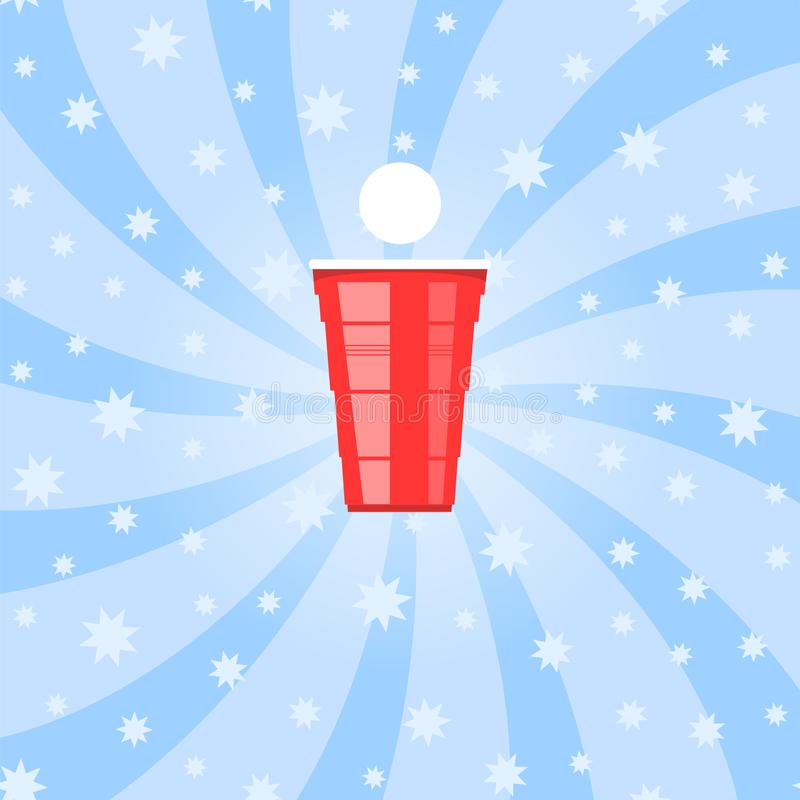 Турнир pong пива Красная пластичная чашка и белый теннисный мяч Забавная игра для партии Традиционное выпивая время иллюстрация вектора