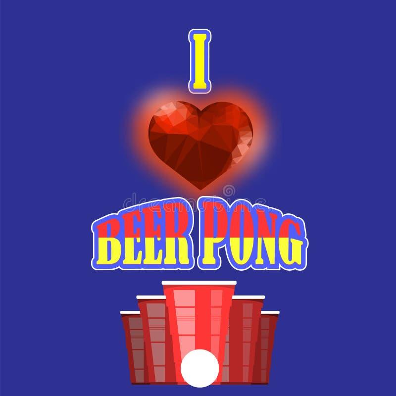 Турнир pong пива Красная пластичная чашка и белый теннисный мяч Забавная игра для партии Традиционное выпивая время бесплатная иллюстрация