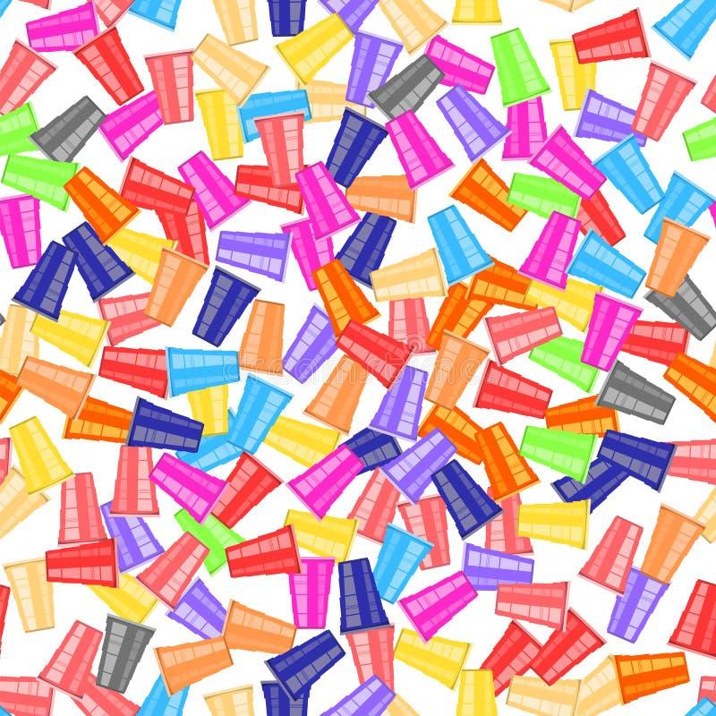 Турнир pong пива Красочная пластмасса придает форму чашки безшовная картина Забавная игра для партии Традиционное выпивая время иллюстрация штока