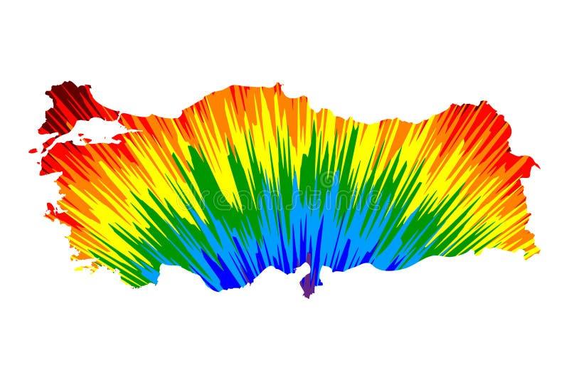 Турция - карта конструированная картина конспекта радуги красочная бесплатная иллюстрация