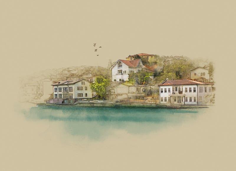 Турция Стамбул, графики на старой бумаге бесплатная иллюстрация