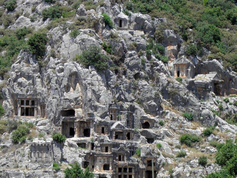 Турция, усыпальницы Lycian в городе Миры стоковые фото