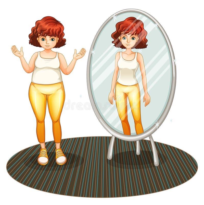 Тучная девушка и ее тощее отражение иллюстрация штока