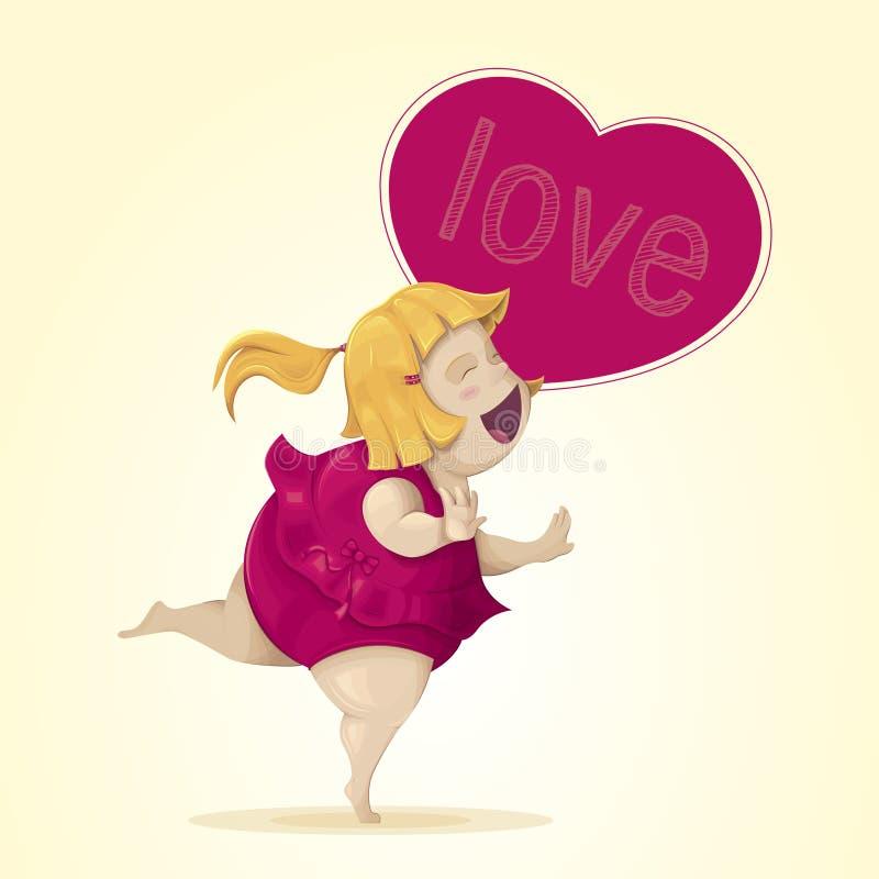 Тучная женщина весьма счастливая и влюбленн в белокурые волосы, наслаждаясь ее каникулами на пляже иллюстрация штока