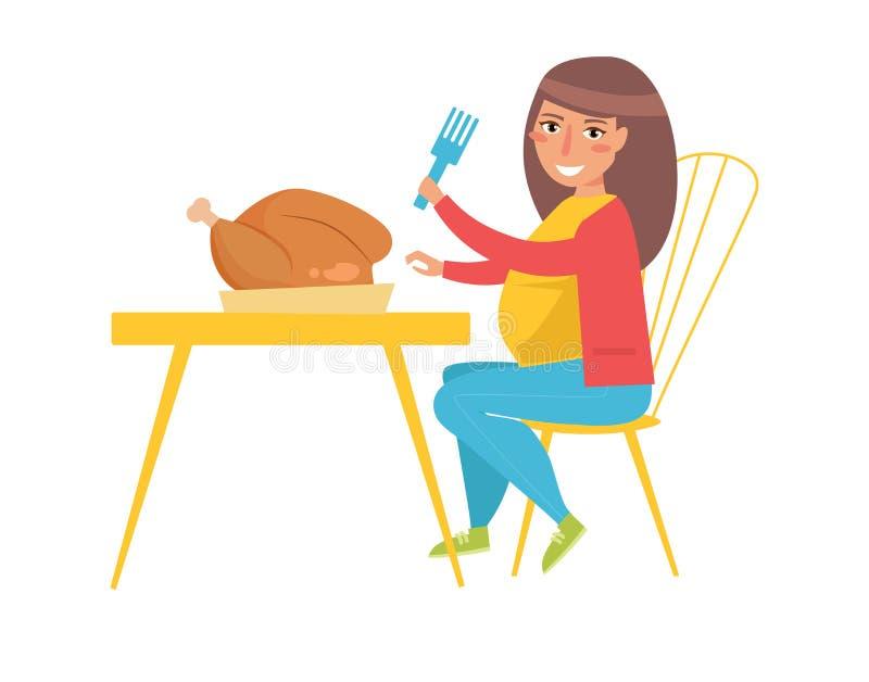 Тучная женщина ест цыпленка вектор шарж иллюстрация штока