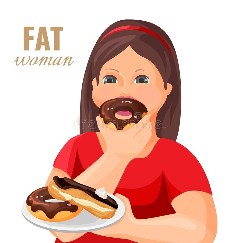 Тучная женщина ест donuts и торт покрытые с шоколадом иллюстрация штока