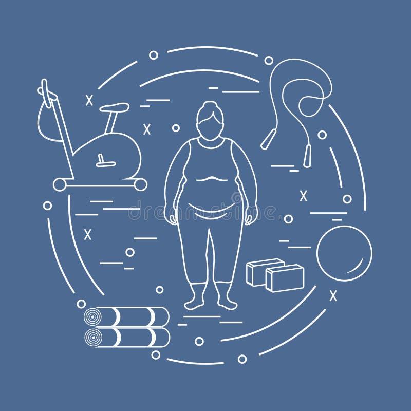 Тучная женщина и различный спортивный инвентарь иллюстрация вектора
