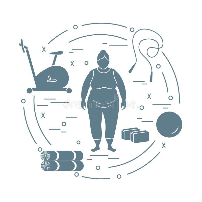 Тучная женщина и различный спортивный инвентарь иллюстрация штока