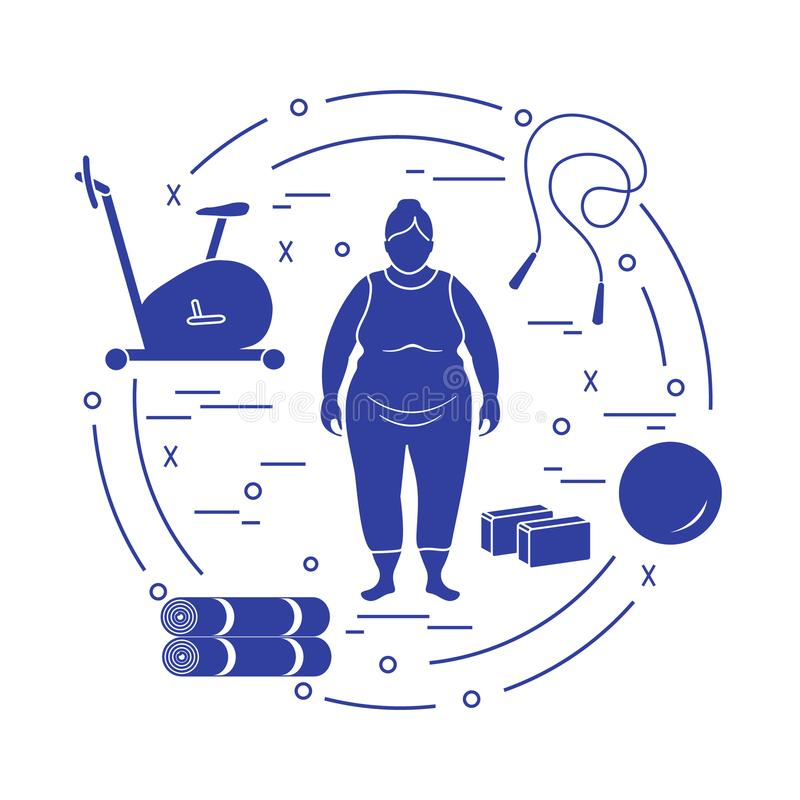 Тучная женщина и различный спортивный инвентарь бесплатная иллюстрация