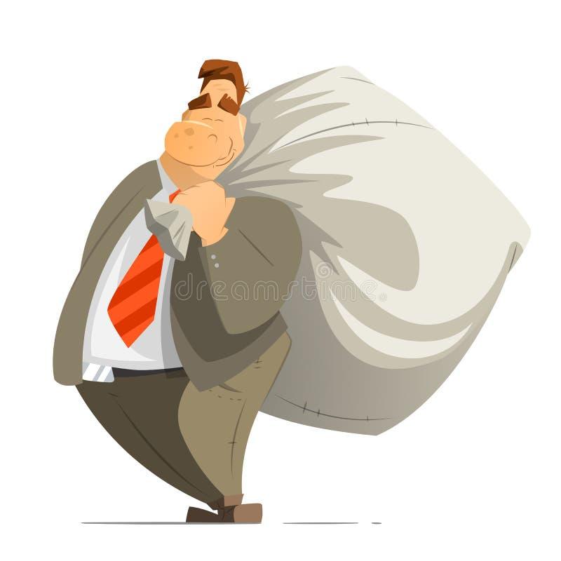 Тучный богатый бизнесмен бизнесмена и большие деньги sack деньги сумки бесплатная иллюстрация