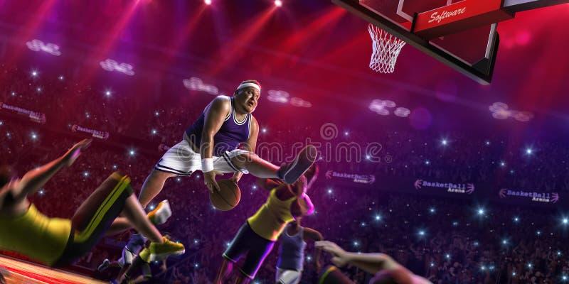 Тучный игрок баскетбола не профессиональный в действии, суд и враг 3d представляют стоковое изображение rf