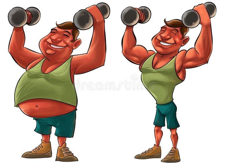 Тучный и сильный человек иллюстрация вектора
