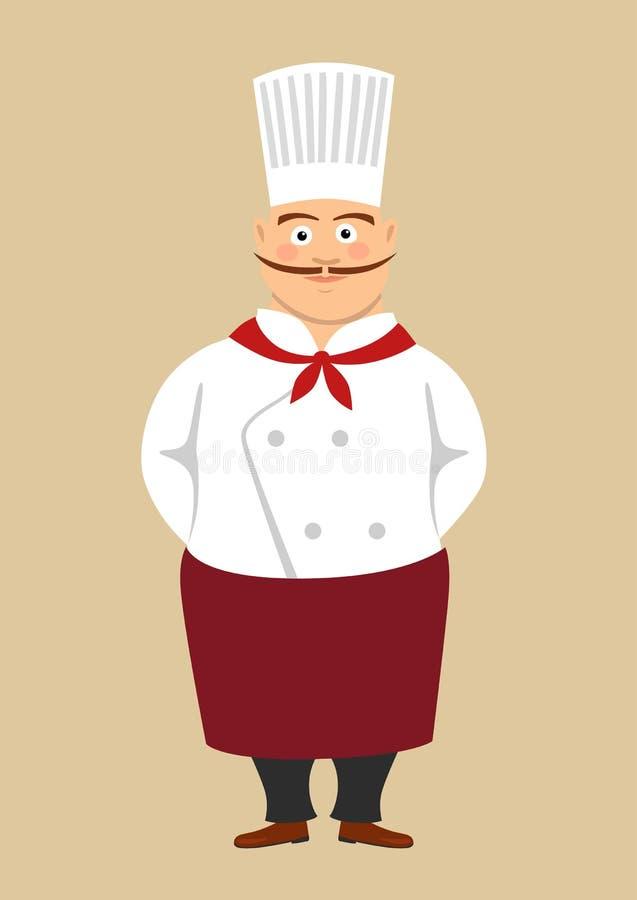 Тучный милый мужской шеф-повар кашевара с длинным положением усика иллюстрация штока