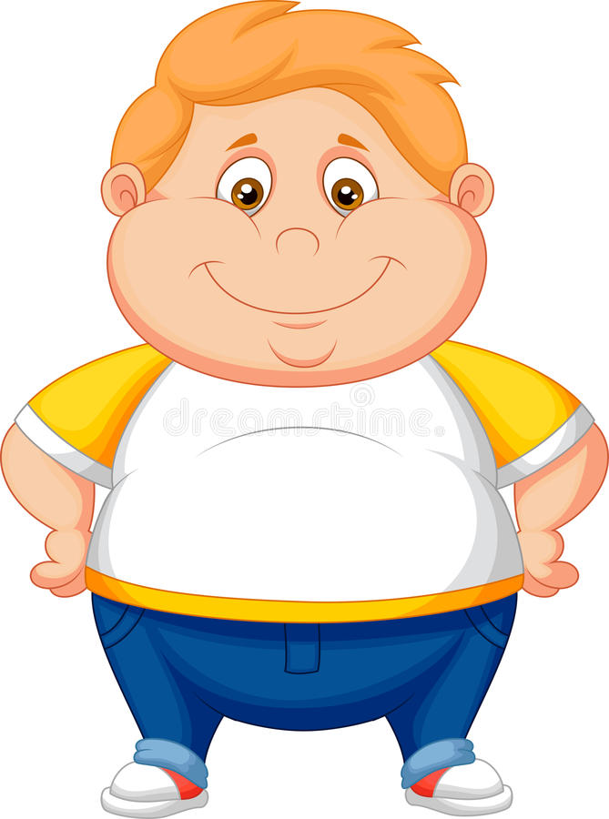 Тучный представлять шаржа мальчика бесплатная иллюстрация