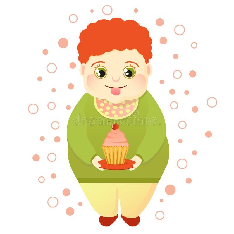 Тучный рыжеволосый мальчик держит торт и лижет Холодные возлюбленн или любовник помадок Милая обжора иллюстрация вектора
