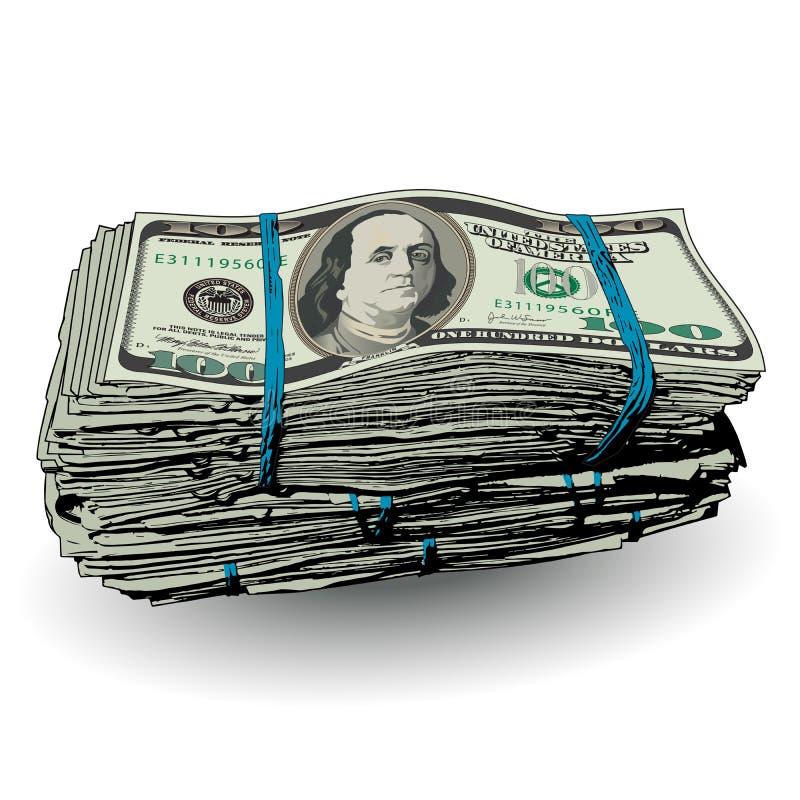 Тучный стог 100 долларовых банкнот бесплатная иллюстрация