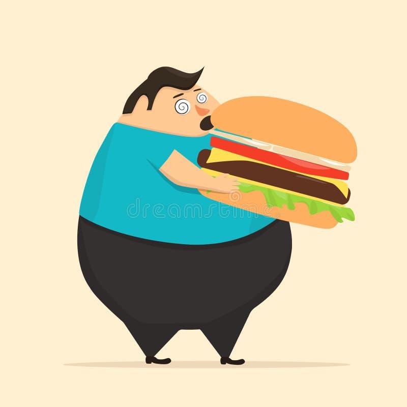Тучный человек в положении гипноза ест бургер бесплатная иллюстрация
