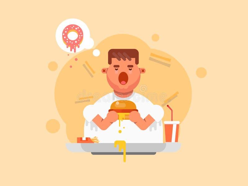 Тучный человек есть большой гамбургер в плоском стиле стоковая фотография rf