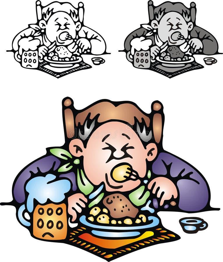 Тучный человек ест обедающий бесплатная иллюстрация