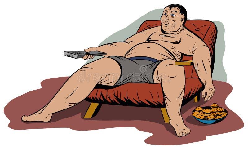 Тучный человек сидя в стуле, держа дистанционное управление ТВ бесплатная иллюстрация