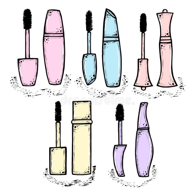 Тушь нарисованная рукой для женщин Тенденция моды и красоты Иллюстрация эскиза Косметика иллюстрация штока
