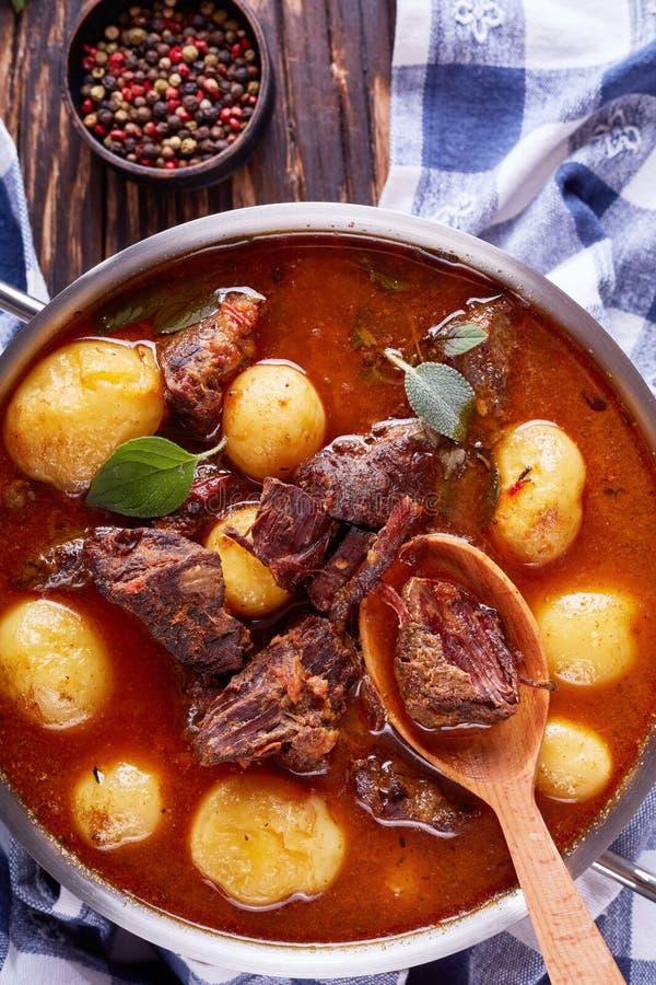 Тушёное мясо говядины с нежными кубами мяса стоковое изображение rf