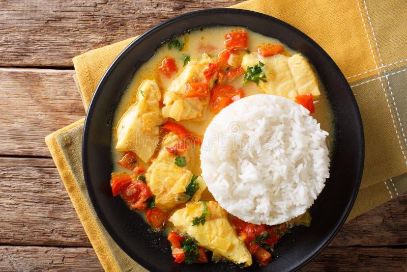 Тушёное мясо рыб в молоке кокоса с овощами и концом-вверх риса Hor стоковое изображение rf
