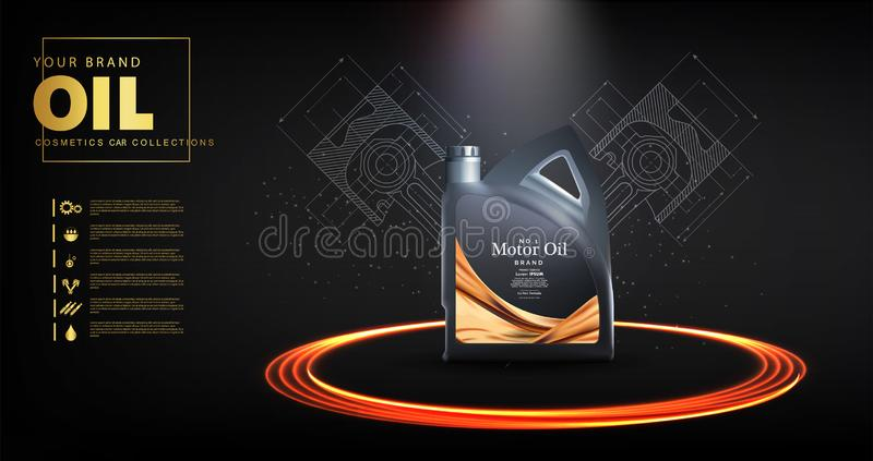 Bottle engine oil on a background a motor-car vector illustration