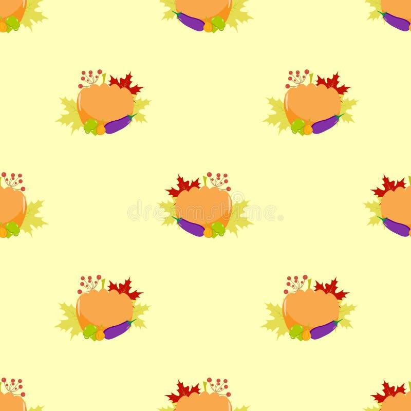 Тыква, год сбора винограда, безшовная картина иллюстрация штока