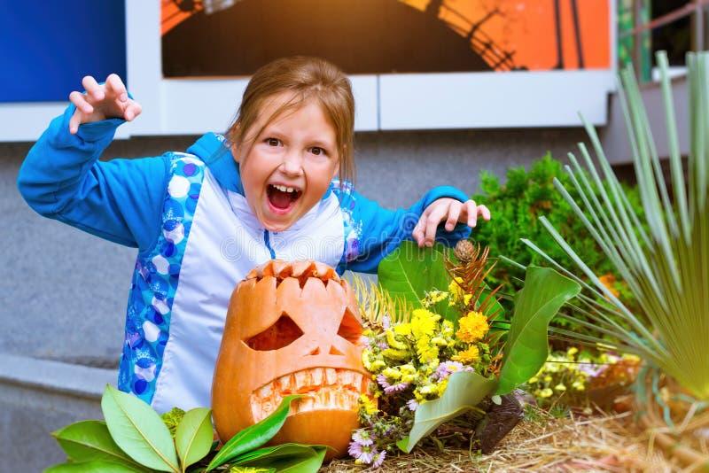 Тыква и цукини на хеллоуин стоковая фотография rf