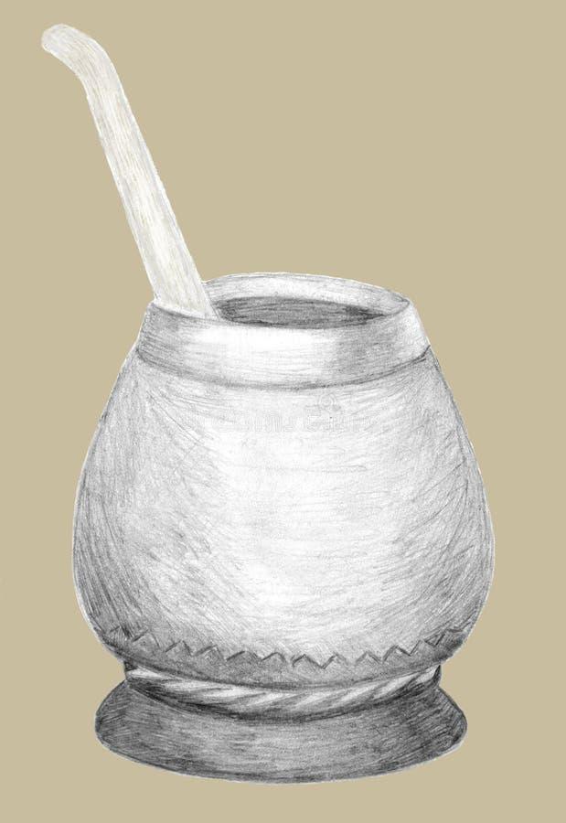 Тыква и bombilla калебаса для Yerba сопрягают чай Графики нарисованные рукой Эскиз карандаша на беже Здоровое питье coffeine бесплатная иллюстрация
